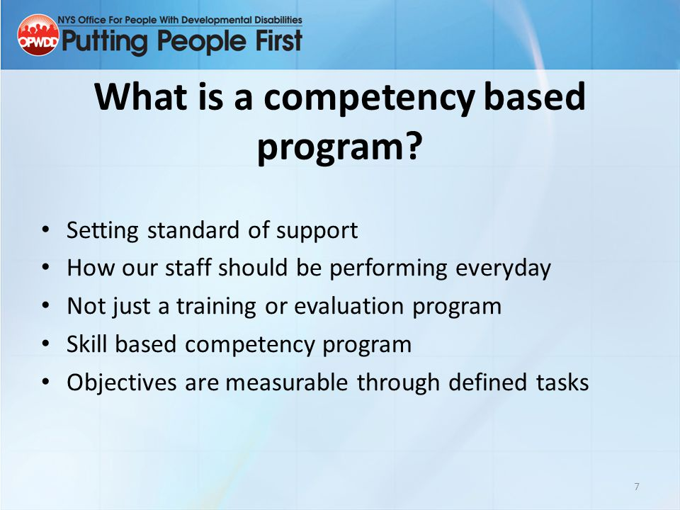 What is a competency based program