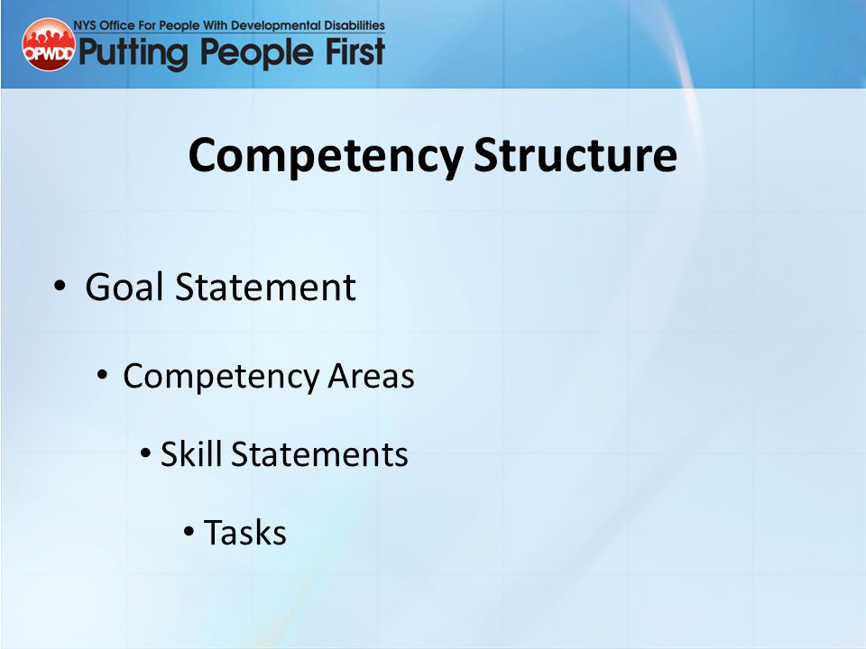 Competency Structure Goal Statement Competency Areas Skill Statements