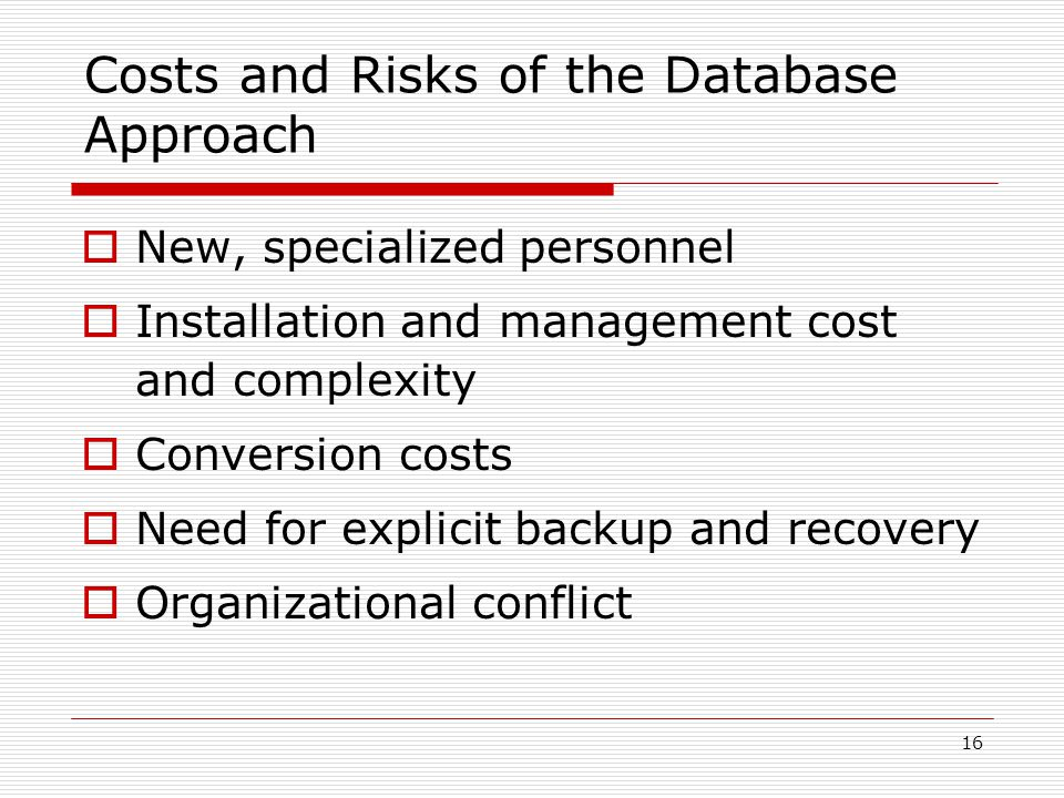 Costs and Risks of the Database Approach