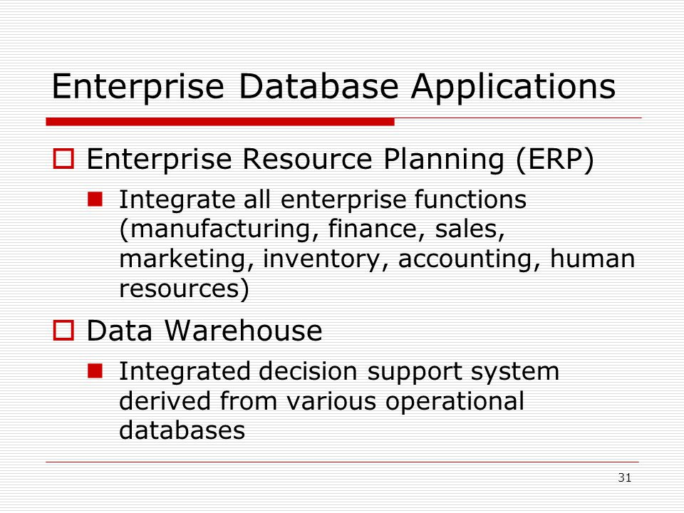Enterprise Database Applications