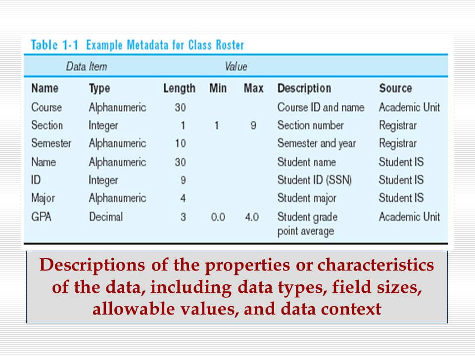 Descriptions of the properties or characteristics of the data, including data types, field sizes, allowable values, and data context