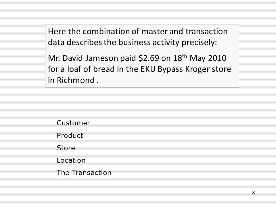 Here the combination of master and transaction data describes the business activity precisely: