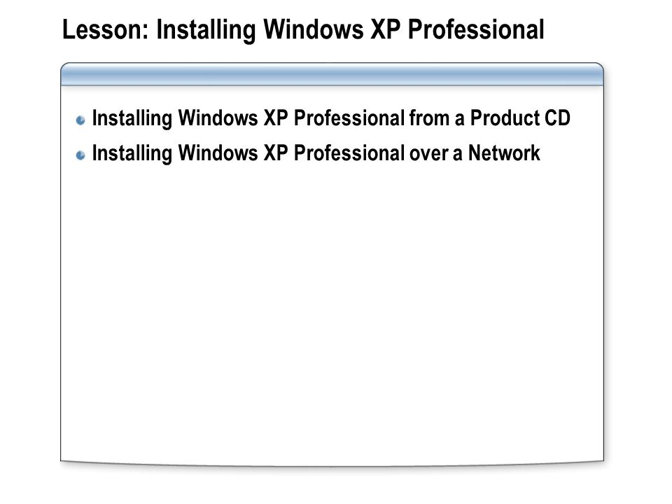 Lesson: Installing Windows XP Professional