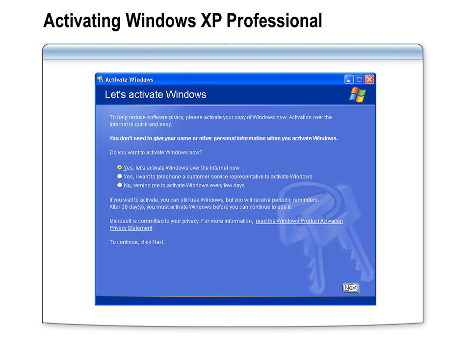 Activating Windows XP Professional