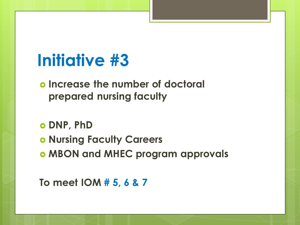 Initiative #3 Increase the number of doctoral prepared nursing faculty