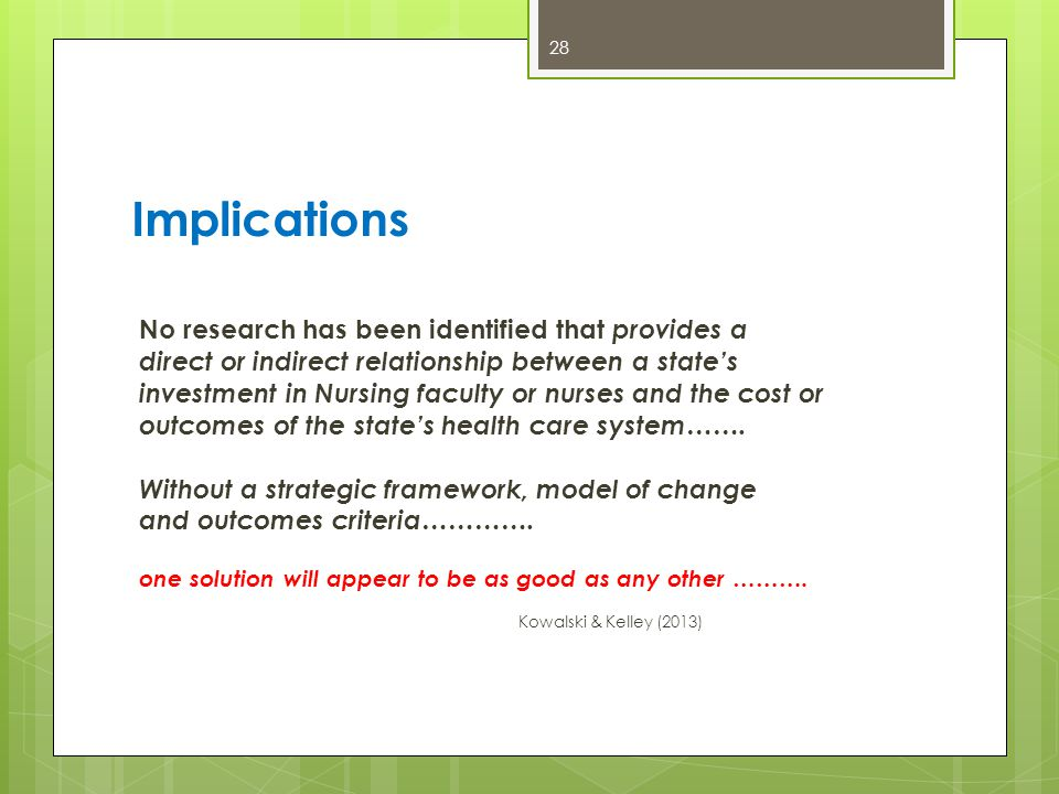 Implications No research has been identified that provides a