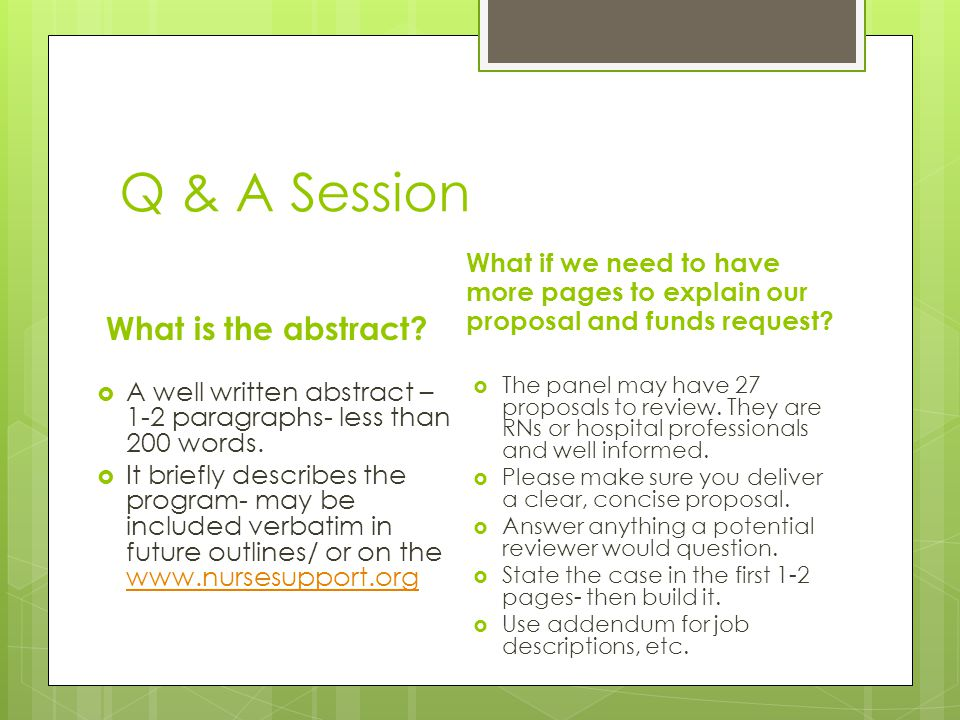 Q & A Session What is the abstract