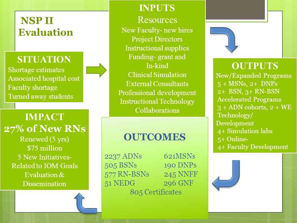 INPUTS NSP II Evaluation Resources SITUATION OUTPUTS IMPACT