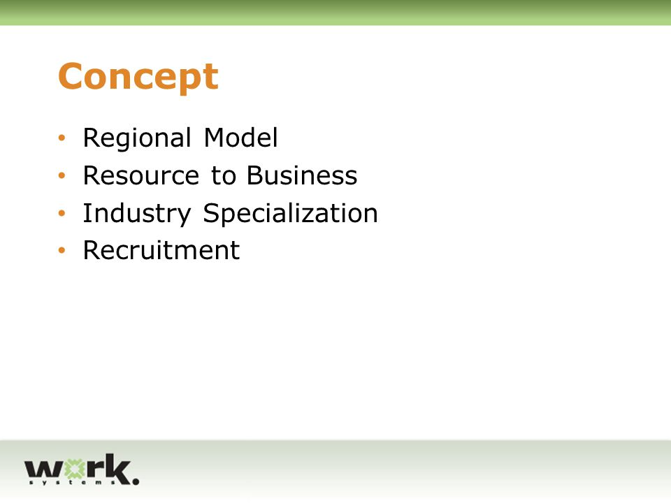 Concept Regional Model Resource to Business Industry Specialization