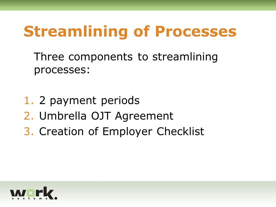 Streamlining of Processes