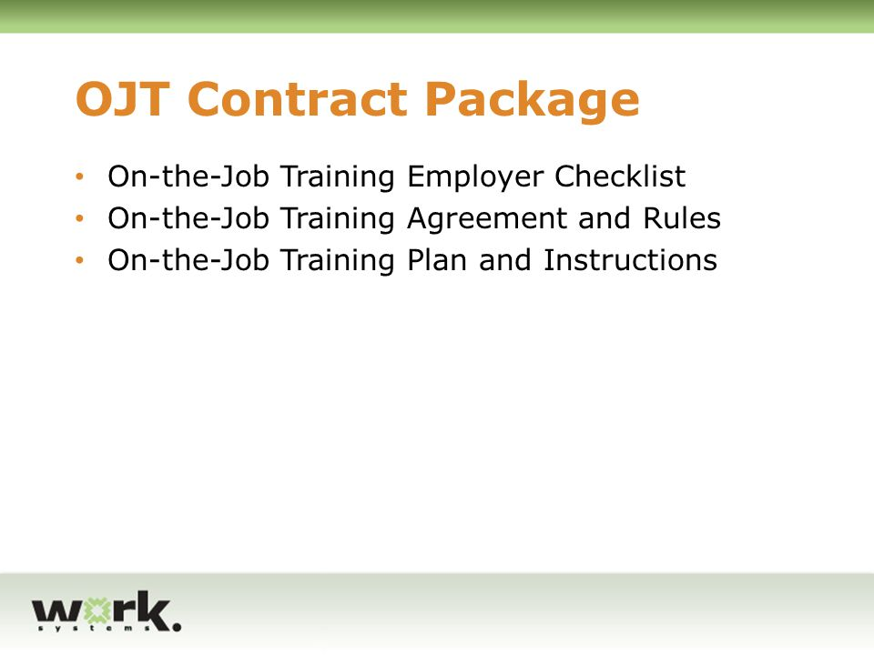 OJT Contract Package On-the-Job Training Employer Checklist