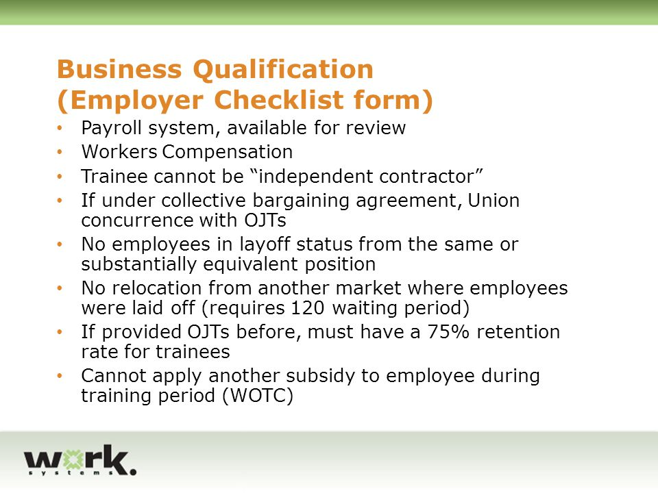 Business Qualification (Employer Checklist form)