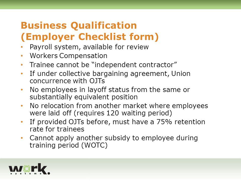 Business Qualification (Employer Checklist form)