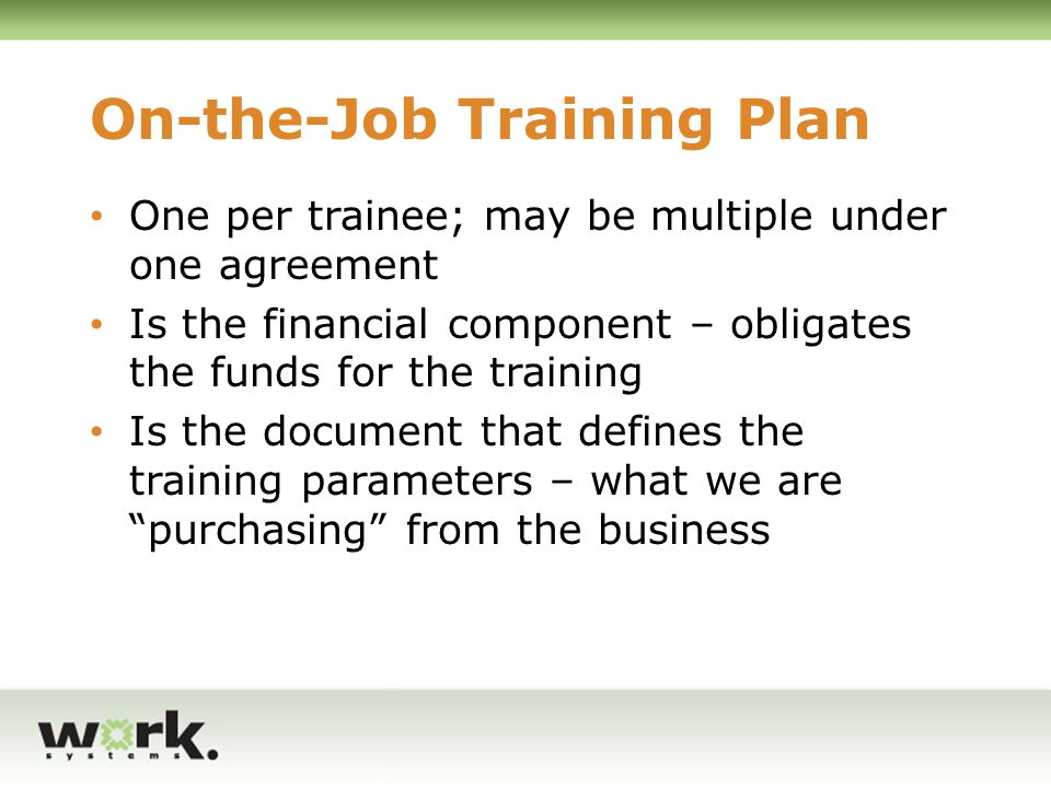 On-the-Job Training Plan
