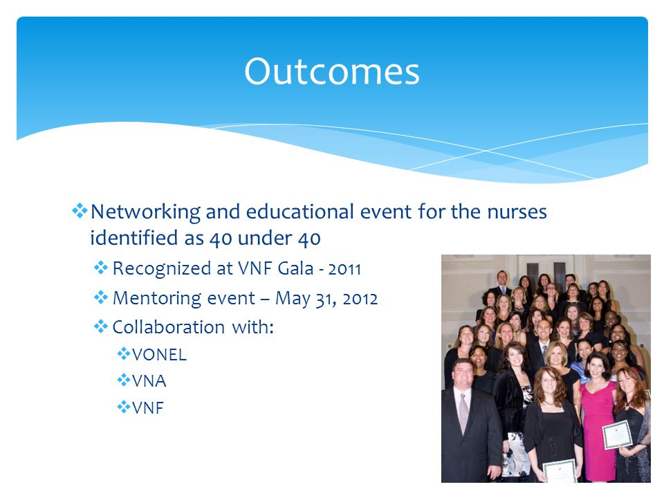Outcomes Networking and educational event for the nurses identified as 40 under 40. Recognized at VNF Gala - 2011.