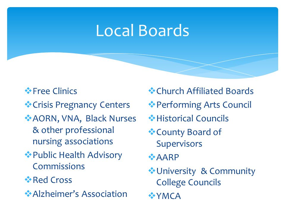 Local Boards Free Clinics Crisis Pregnancy Centers