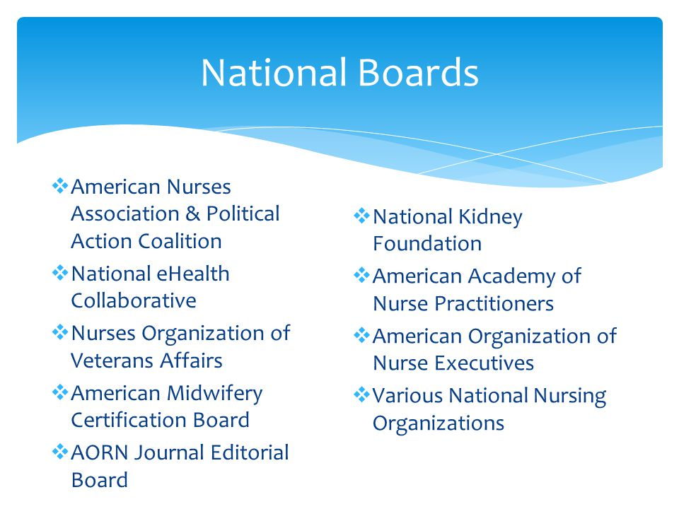 National Boards American Nurses Association & Political Action Coalition. National eHealth Collaborative.