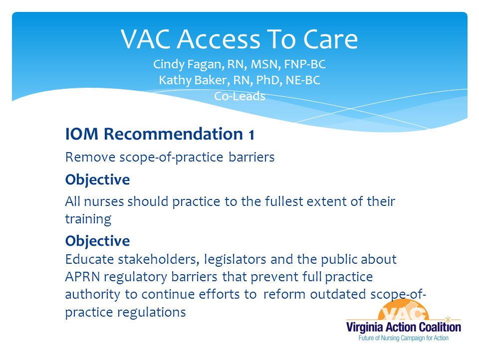 VAC Access To Care Cindy Fagan, RN, MSN, FNP-BC Kathy Baker, RN, PhD, NE-BC Co-Leads