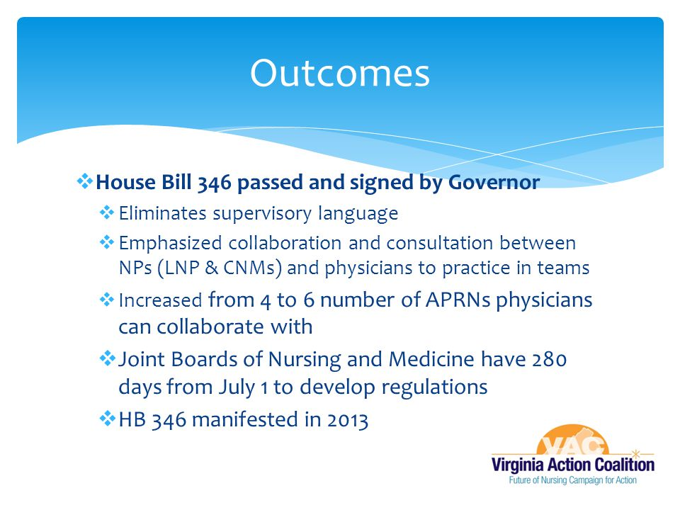Outcomes House Bill 346 passed and signed by Governor