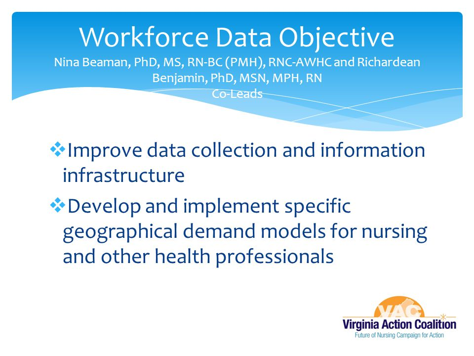 Workforce Data Objective Nina Beaman, PhD, MS, RN-BC (PMH), RNC-AWHC and Richardean Benjamin, PhD, MSN, MPH, RN Co-Leads
