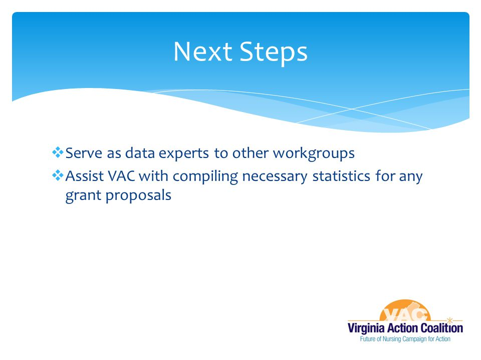 Next Steps Serve as data experts to other workgroups
