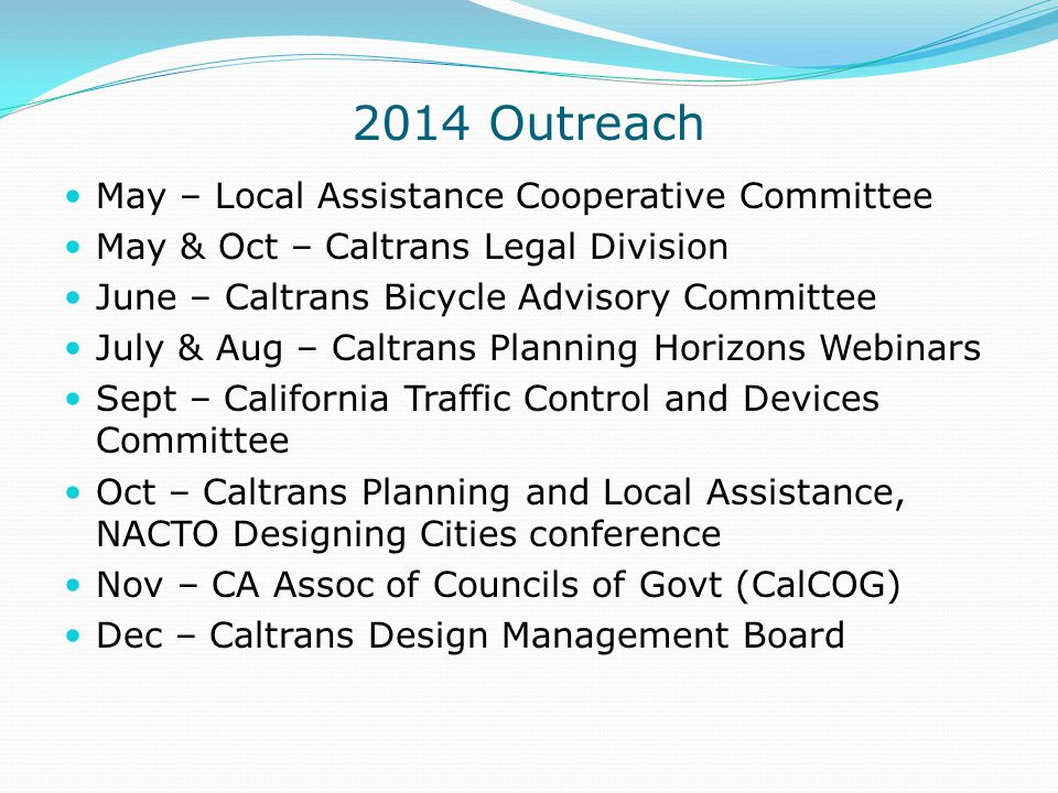 2014 Outreach May – Local Assistance Cooperative Committee