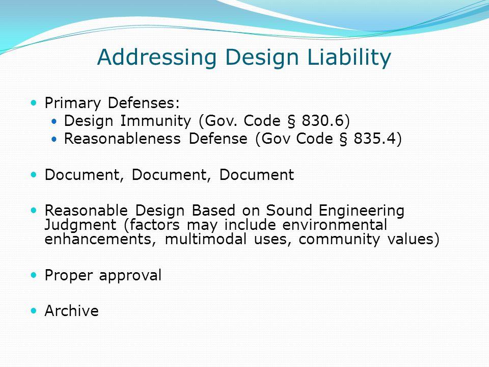 Addressing Design Liability