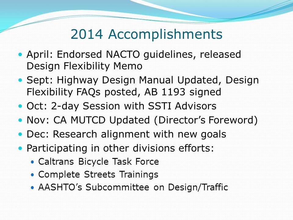 2014 Accomplishments April: Endorsed NACTO guidelines, released Design Flexibility Memo.