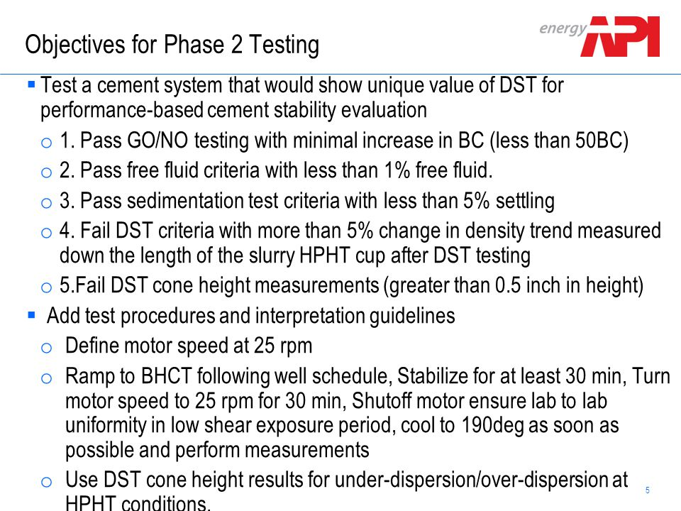 Objectives for Phase 2 Testing