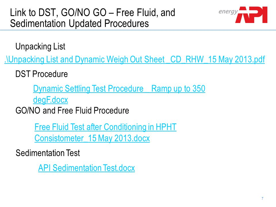 Link to DST, GO/NO GO – Free Fluid, and Sedimentation Updated Procedures