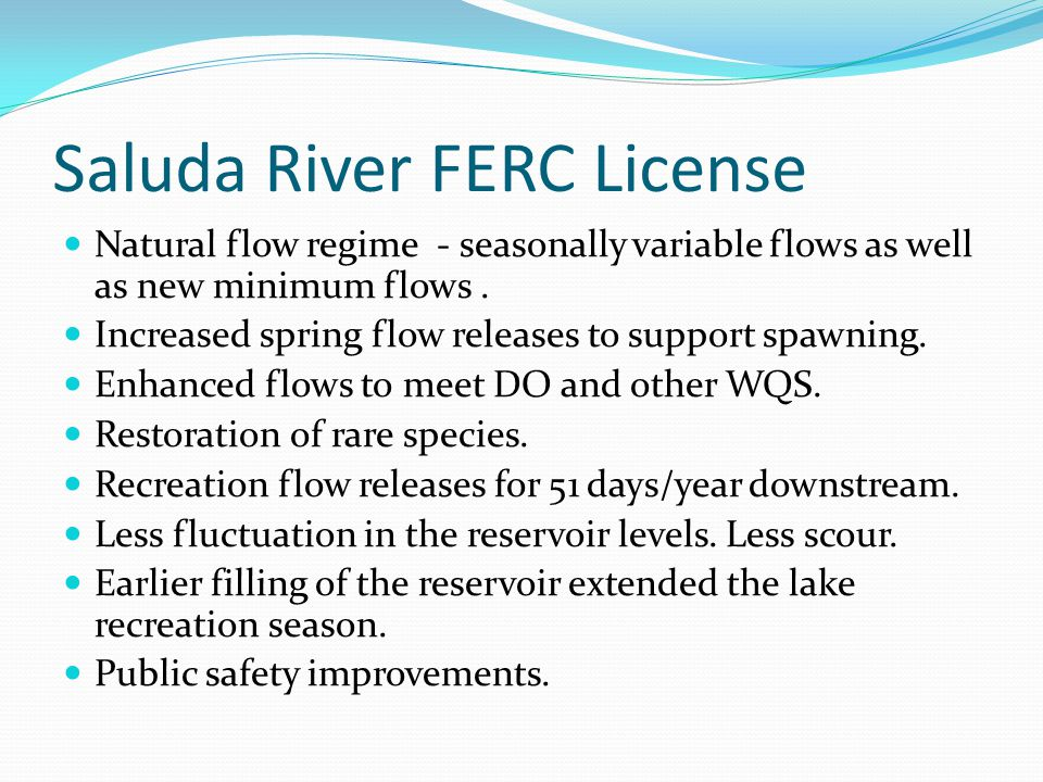 Saluda River FERC License