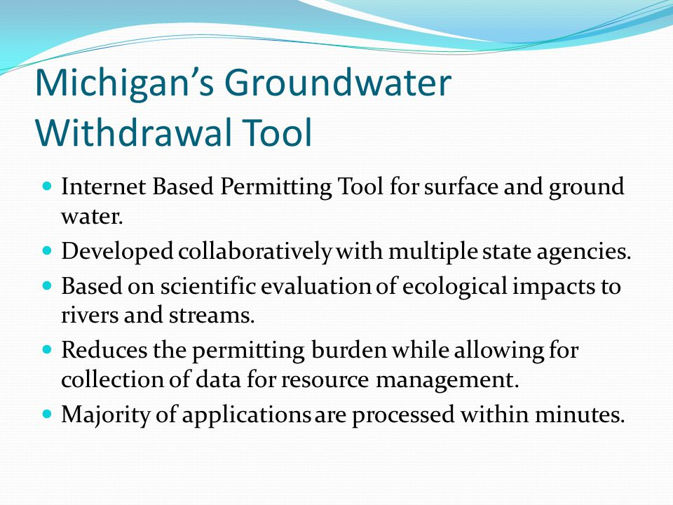 Michigan's Groundwater Withdrawal Tool