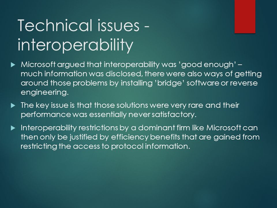 Technical issues - interoperability