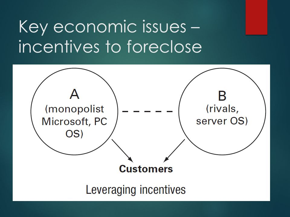 Key economic issues – incentives to foreclose