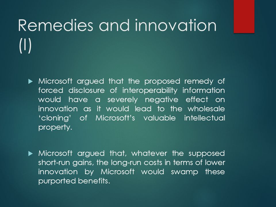 Remedies and innovation (I)
