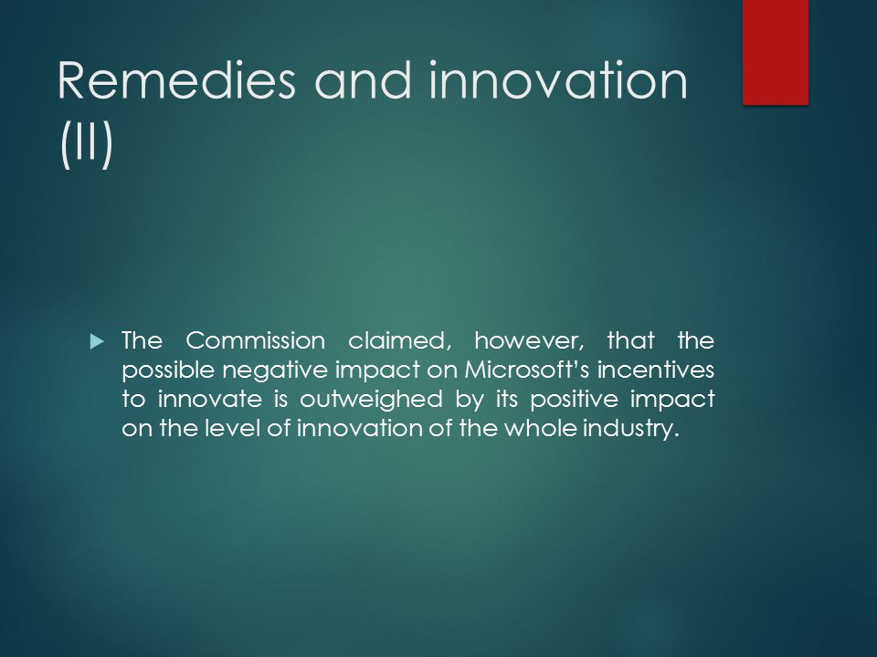 Remedies and innovation (II)