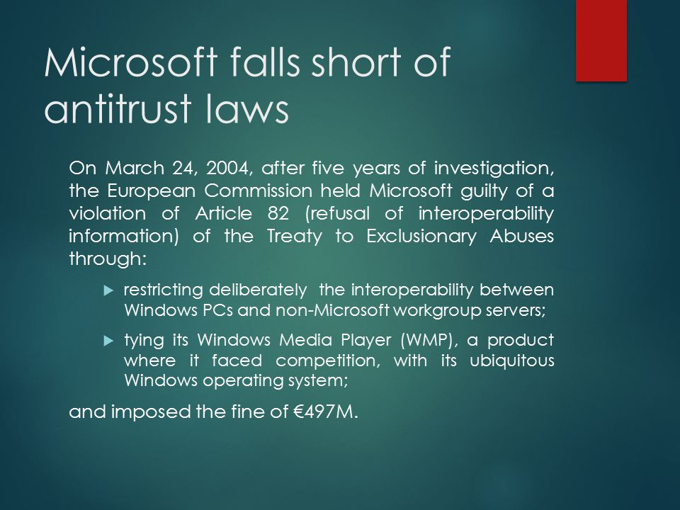 Microsoft falls short of antitrust laws