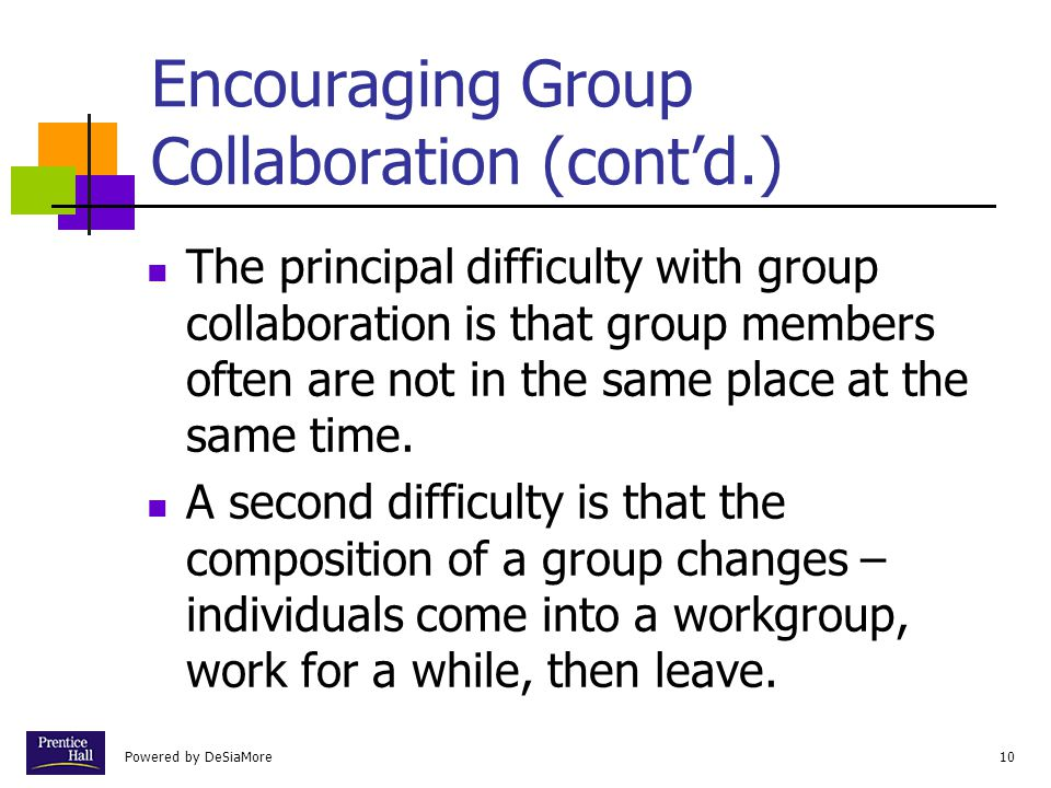 Encouraging Group Collaboration (cont'd.)