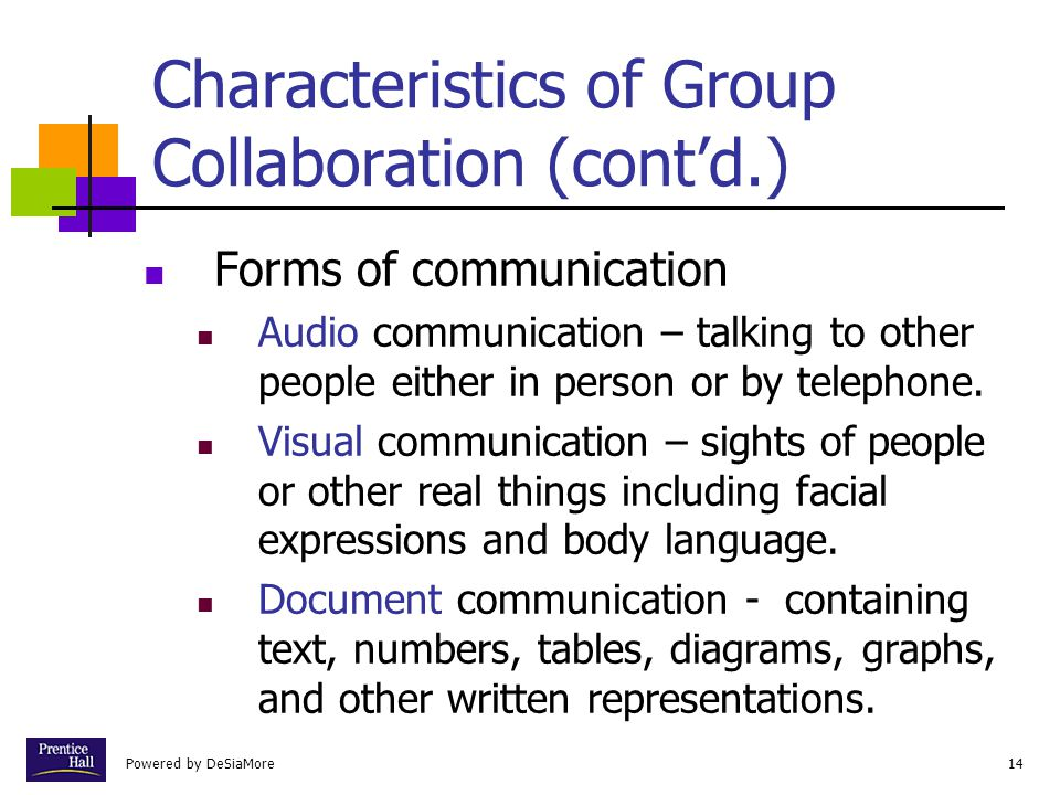 Characteristics of Group Collaboration (cont'd.)