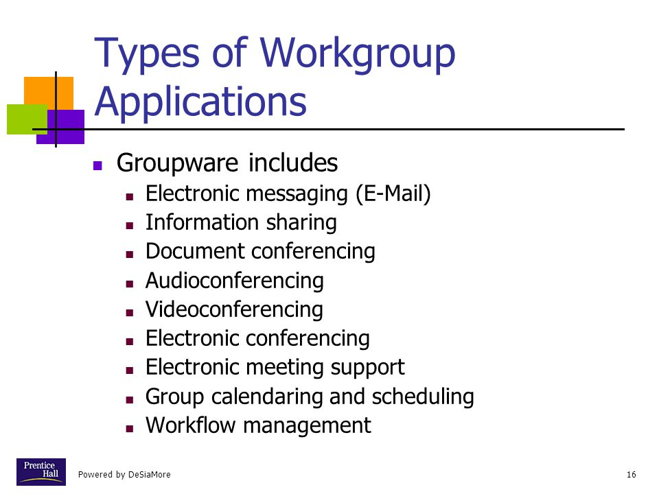 Types of Workgroup Applications