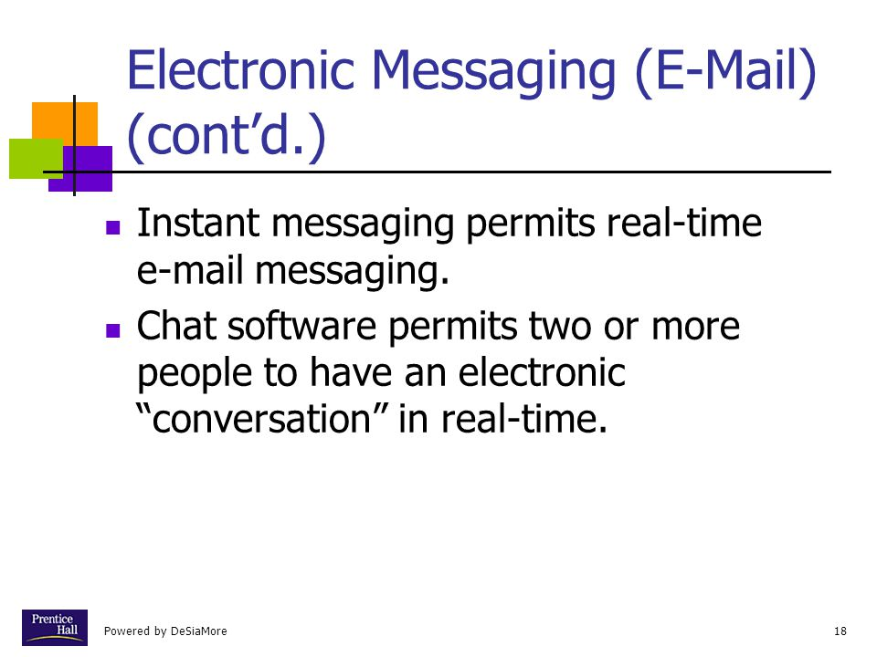 Electronic Messaging (E-Mail) (cont'd.)