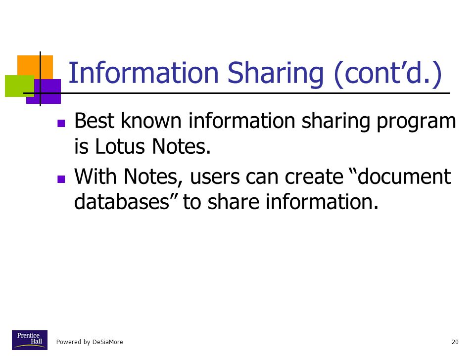 Information Sharing (cont'd.)