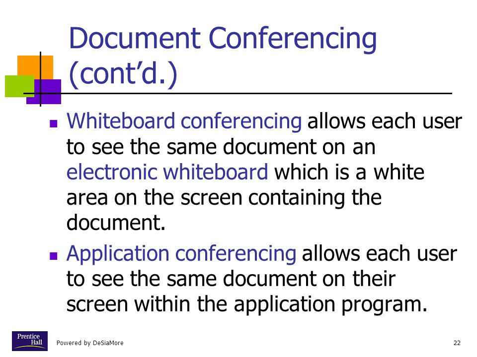 Document Conferencing (cont'd.)