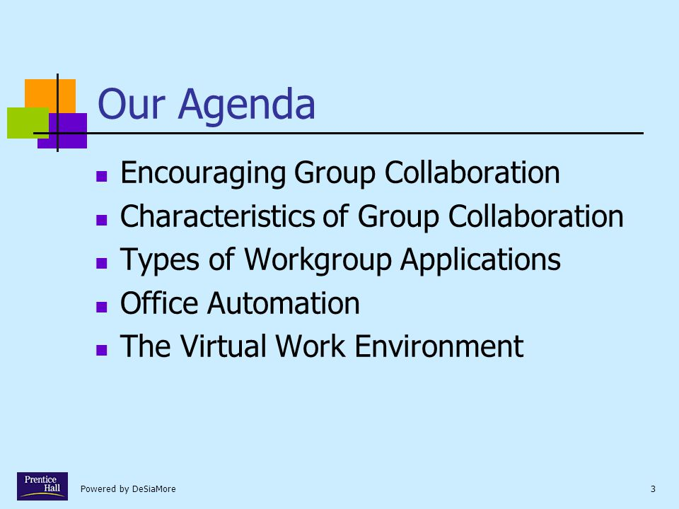 Our Agenda Encouraging Group Collaboration