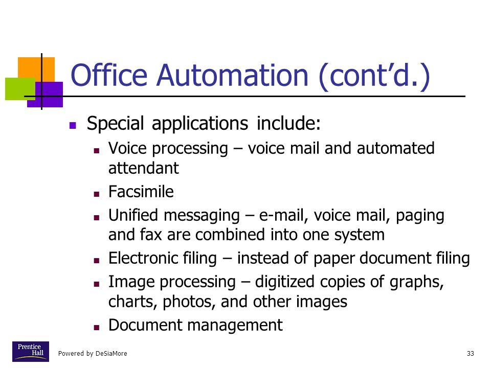 Office Automation (cont'd.)