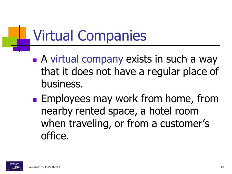 Chapter Virtual Companies. A virtual company exists in such a way that it does not have a regular place of business.