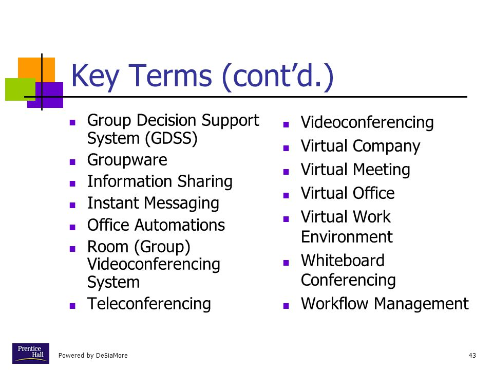 Key Terms (cont'd.) Group Decision Support System (GDSS) Groupware