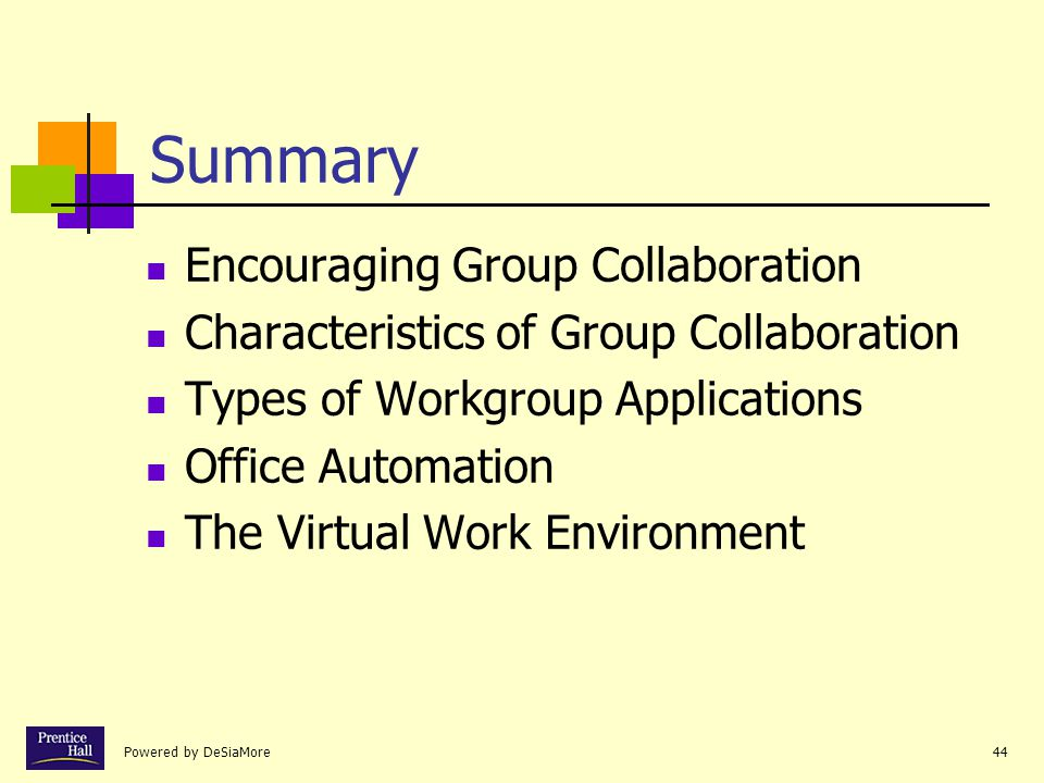 Summary Encouraging Group Collaboration