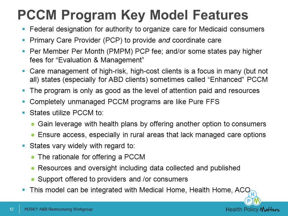 PCCM Program Key Model Features