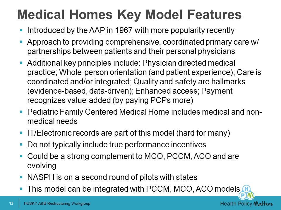 Medical Homes Key Model Features